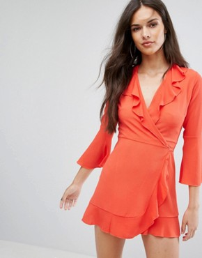 photo Ruffle Wrap Dress with Fluted Sleeve by Outrageous Fortune, color Orange - Image 1