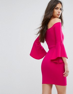 photo Bardot Mini Pencil Dress with Flueted Sleeve by Outrageous Fortune, color Fuchsia - Image 2
