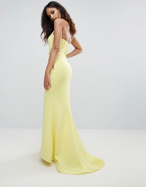 photo Halter Neck Maxi Dress with Mesh Detail by Forever Unique, color Yellow - Image 2