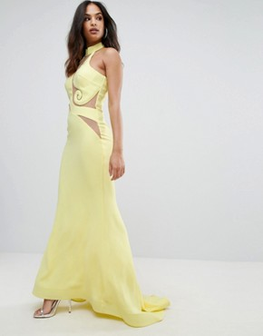 photo Halter Neck Maxi Dress with Mesh Detail by Forever Unique, color Yellow - Image 1