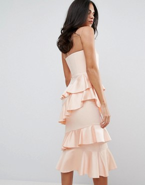 photo Frill and Bow Detail Midi Dress by Forever Unique, color Pink - Image 2
