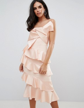 photo Frill and Bow Detail Midi Dress by Forever Unique, color Pink - Image 1
