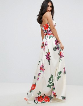photo Sleeveless Maxi Floral Prom Dress by Forever Unique, color Multi - Image 2