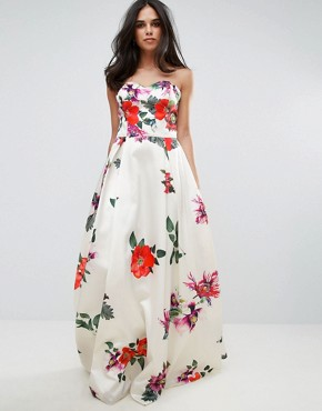 photo Sleeveless Maxi Floral Prom Dress by Forever Unique, color Multi - Image 4