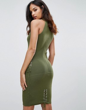 photo Mini Cut Out Dress by Forever Unique, color Green - Image 2