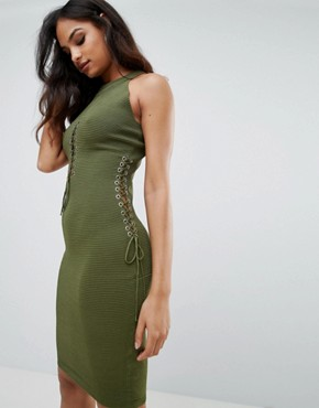 photo Mini Cut Out Dress by Forever Unique, color Green - Image 1