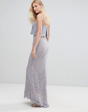 photo All Over Lace Bandeau Maxi Dress by Jarlo, color Grey - Image 2