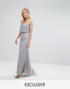 photo All Over Lace Bandeau Maxi Dress by Jarlo, color Grey - Image 1