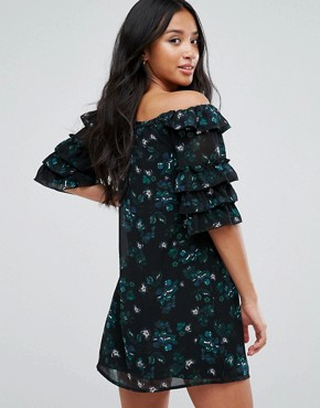 photo Off Shoulder Dress with Ruffle Sleeves in Dark Floral by Fashion Union Petite, color Multi - Image 2
