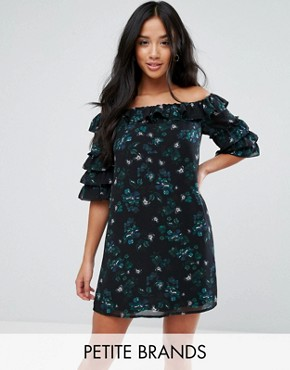 photo Off Shoulder Dress with Ruffle Sleeves in Dark Floral by Fashion Union Petite, color Multi - Image 1