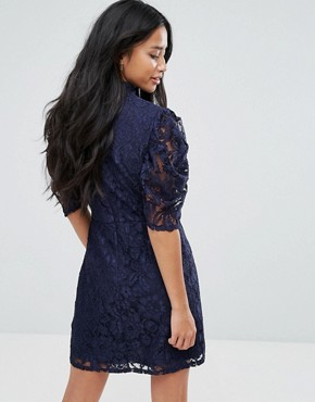 photo High Neck A-Line Dress in Lace by Fashion Union Petite, color Navy - Image 2