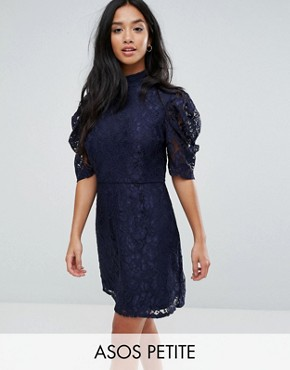 photo High Neck A-Line Dress in Lace by Fashion Union Petite, color Navy - Image 1