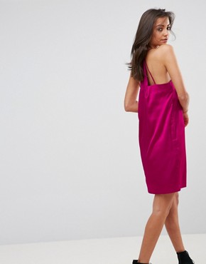 photo Cami Slip Dress with Double Straps in Satin by Fashion Union Tall, color Hot Pink - Image 2