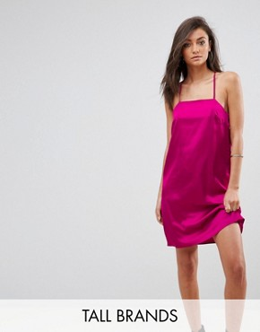 photo Cami Slip Dress with Double Straps in Satin by Fashion Union Tall, color Hot Pink - Image 1