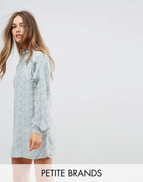 photo Long Sleeve Smock Dress with Ribbon Tie Gathers by Fashion Union Petite, color Multi - Image 1