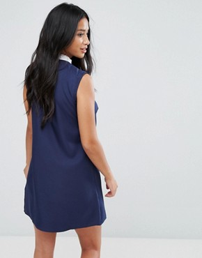 photo Sleeveless Shift Dress with Ribbon Tie Pleated Collar by Fashion Union Petite, color Navy - Image 2