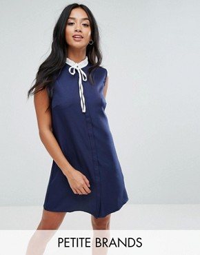 photo Sleeveless Shift Dress with Ribbon Tie Pleated Collar by Fashion Union Petite, color Navy - Image 1