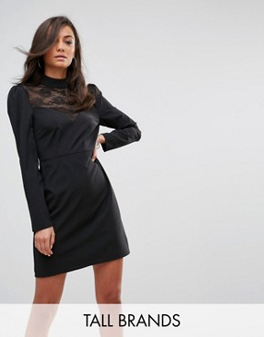 photo Long Sleeve Dress with High Neck in Lace by Fashion Union Tall, color Black - Image 1