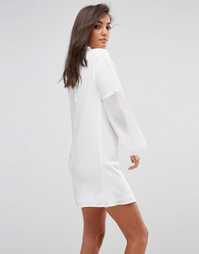 photo Long Sleeve Smock Dress with Ribbon Tie Gathers by Fashion Union Tall, color White - Image 2