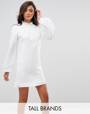 photo Long Sleeve Smock Dress with Ribbon Tie Gathers by Fashion Union Tall, color White - Image 1
