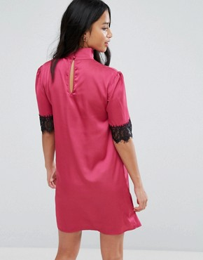 photo High Neck Fitted Dress with Lace Trim in Satin by Fashion Union Petite, color Pink - Image 2