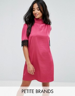 photo High Neck Fitted Dress with Lace Trim in Satin by Fashion Union Petite, color Pink - Image 1