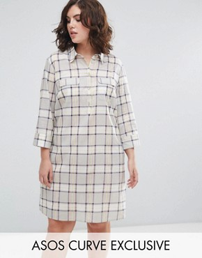 photo Shirt Dress in Check by ASOS CURVE, color Multi - Image 1