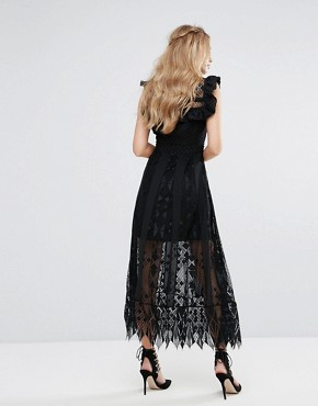 photo Lace Midi Dress with Ruffle Sleeves by Foxiedox, color Black - Image 2