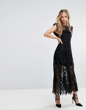 photo Lace Midi Dress with Ruffle Sleeves by Foxiedox, color Black - Image 1