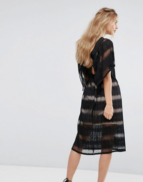photo Sheer Lace Kimono Sleeve Dress by Foxiedox, color Black - Image 2