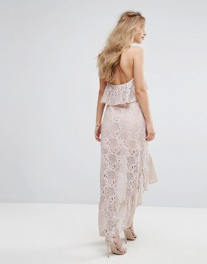 photo Halter Neck Lace Hi-Low Dress by Foxiedox, color Ballet Pink - Image 2