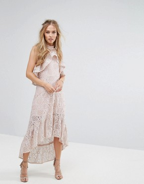 photo Halter Neck Lace Hi-Low Dress by Foxiedox, color Ballet Pink - Image 1