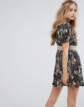 photo Floral Lace Skater Dress by Foxiedox, color Kinsey Print - Image 2
