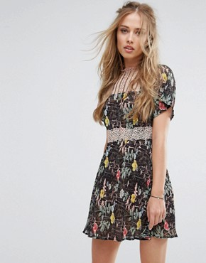 photo Floral Lace Skater Dress by Foxiedox, color Kinsey Print - Image 1
