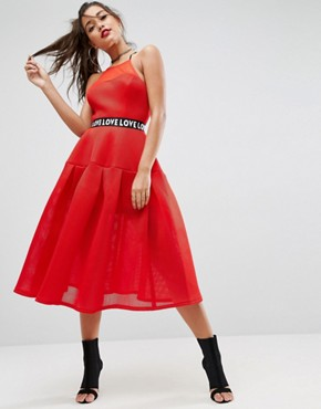 photo Bonded Mesh Prom Midi Dress with Love Strap by ASOS, color Red - Image 1