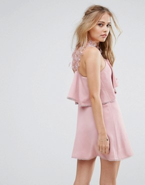 photo Lace Halter Neck Skater Dress by Foxiedox, color Rosette Pink - Image 2