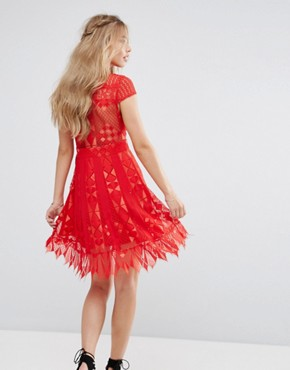 photo Lace Skater Dress with Sheer waist by Foxiedox, color Red - Image 2