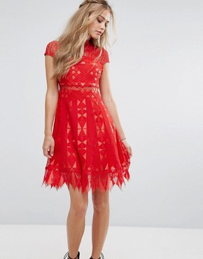 photo Lace Skater Dress with Sheer waist by Foxiedox, color Red - Image 1