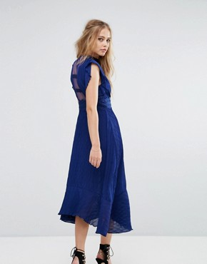 photo Midi Dress with Crochet waist by Foxiedox, color Royal Blue - Image 2
