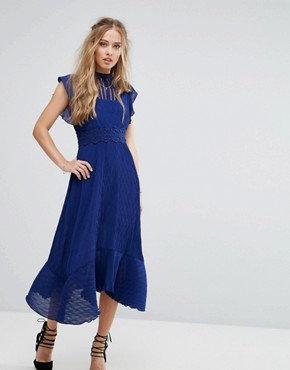 photo Midi Dress with Crochet waist by Foxiedox, color Royal Blue - Image 1