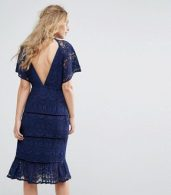 photo Lace Panel Midi Dress by Foxiedox, color Navy - Image 2