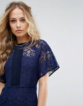 photo Lace Panel Midi Dress by Foxiedox, color Navy - Image 3
