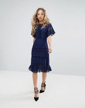 photo Lace Panel Midi Dress by Foxiedox, color Navy - Image 4