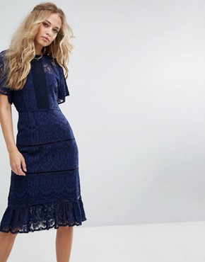 photo Lace Panel Midi Dress by Foxiedox, color Navy - Image 1