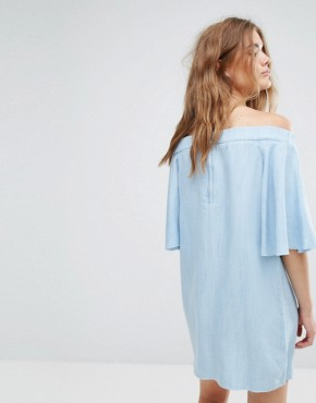 photo Off The Shoulder and Zip Detail Dress by Pull&Bear, color Light Blue - Image 2