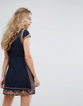 photo Embroidered Fit and Flare Mini Dress by Foxiedox, color Multi - Image 2