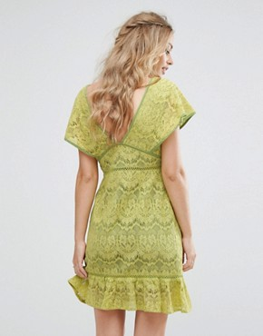 photo Plunge Front Lace Dress by Foxiedox, color Citrus - Image 2