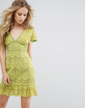 photo Plunge Front Lace Dress by Foxiedox, color Citrus - Image 1