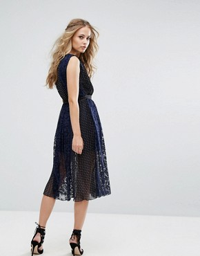 photo Sleeveless Midi Dress with Belt by Foxiedox, color Navy - Image 2