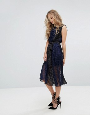 photo Sleeveless Midi Dress with Belt by Foxiedox, color Navy - Image 1